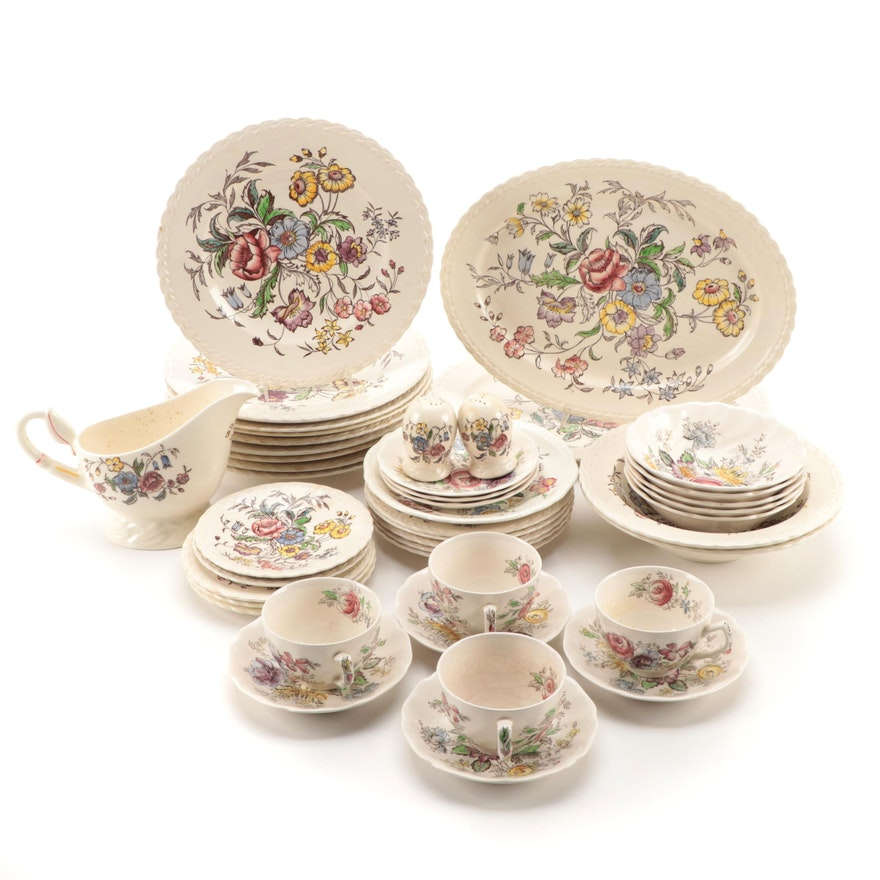 """Vernon Kilns """"May Flower"""" and Other Stoneware Dinnerware, Mid-20th Century"""