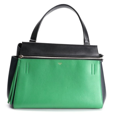 Céline Edge Handbag in Green Drummed Calf and Black Calfskin Leather