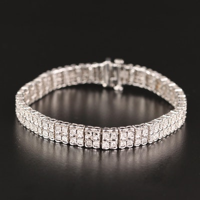 Sterling Silver 1.00 CTW Diamond Double Row Bracelet