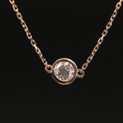 18K 0.40 CT Diamond Solitaire Necklace