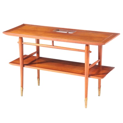 "Lane ""Copenhagen"" Mid Century Modern Walnut Two-Tier Sofa Table"