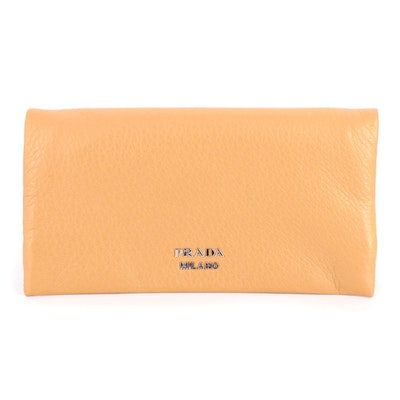 Prada Foldover Wallet in Tan Grained Leather