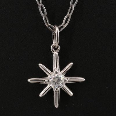 Sterling Silver Diamond Star Necklace