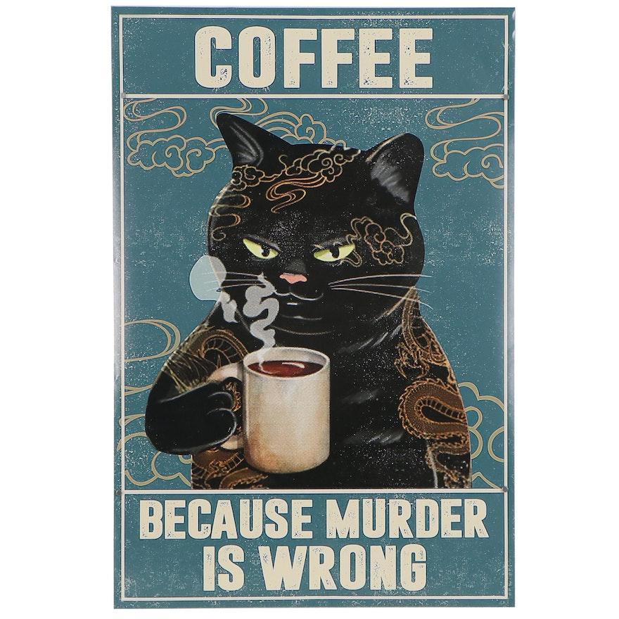 Black Cat Drinking Coffee Giclée Poster, 21st Century