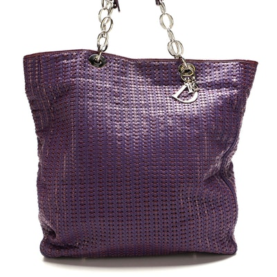 Christian Dior Purple Woven Leather Tote
