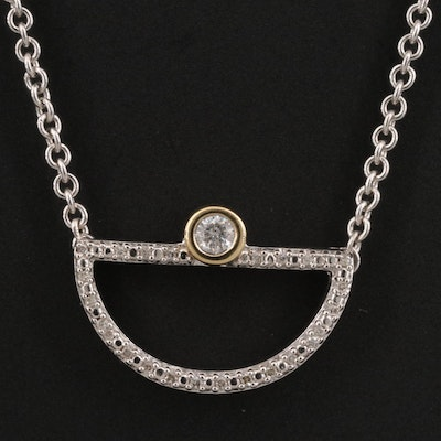 Sterling Silver Diamond Necklace with 10K Accent