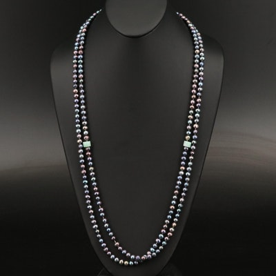 Jadeite and Pearl Endless Necklace