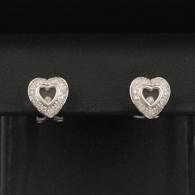 14K Pavé Diamond Heart Earrings with Floating Center
