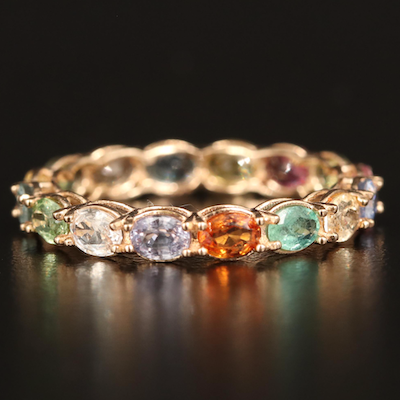 14K Multicolored Sapphire and Emerald Eternity Band