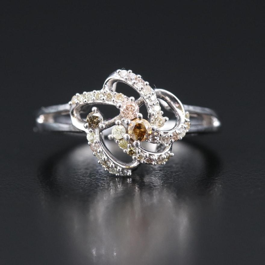 Sterling Silver Diamond Swirl Ring