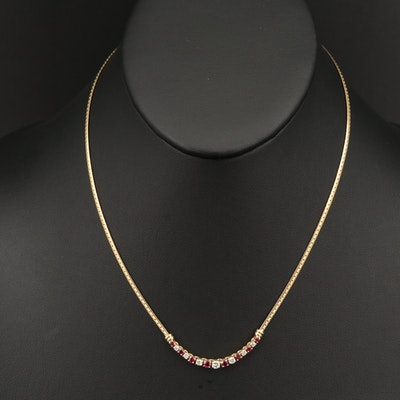 18K Ruby and Diamond Necklace