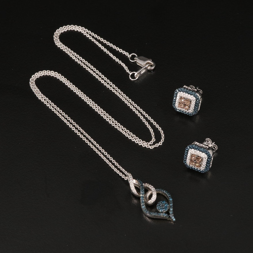 Sterling Silver Diamond Earrings and Pendant Necklace