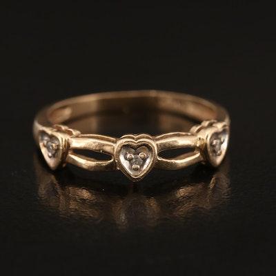 10K Diamond Heart Band