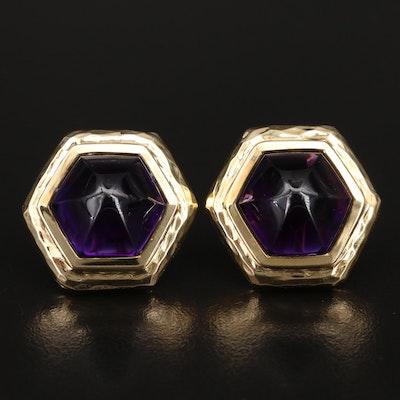 18K Amethyst Hexagonal Earrings