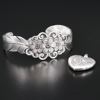 Sterling Silver Engraved Floral Cuff and Heart Locket