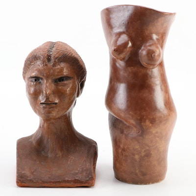"""Abstract Female Bust and Torso Form Vase """"Deliberate Accident"""""""