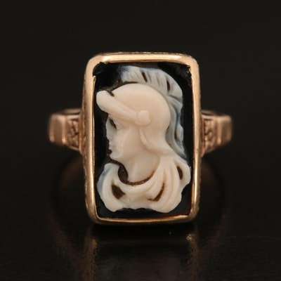 Vintage 10K Onyx Cameo Ring