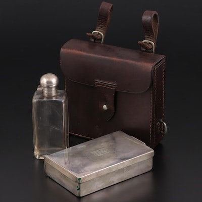 Leather Travel Kit with Silverplate Box and Cologne Bottle, Early 20th Century