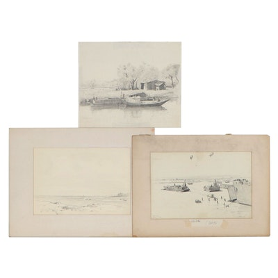 """Edmond J. Fitzgerald Graphite Drawings Including """"Normandy,"""" Mid-20th Century"""