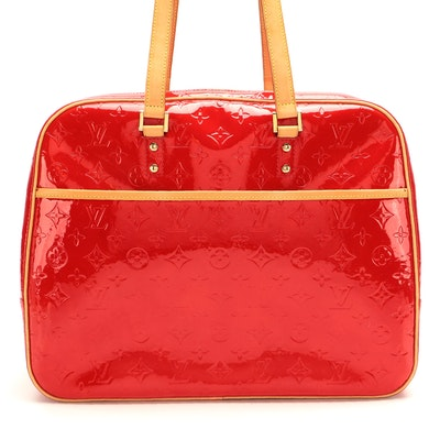 Louis Vuitton Sutton Bag in Red Monogram Vernis and Vachetta Leather