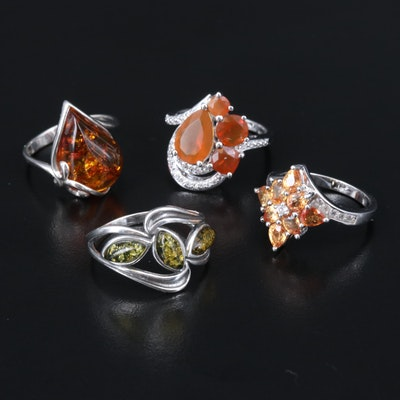 Sterling Silver Sapphire, Opal and Topaz Rings