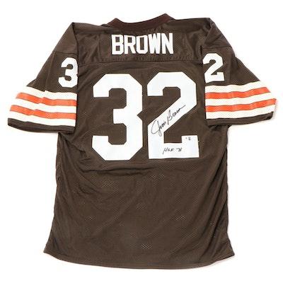 "Jim Brown Signed ""HOF 71"" Cleveland Browns NFL Football Jersey, Global COA"