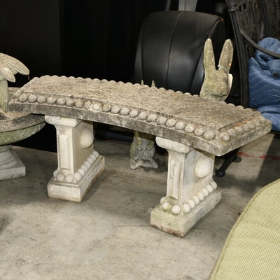 Neoclassical Style Concrete Garden Bench