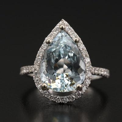 14K 4.50 CT Aquamarine and Diamond Halo Teardrop Ring