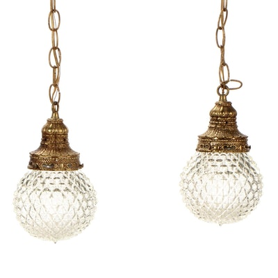 Tri-Lite Double Pendant Light with Cut Glass Globe Shades, Mid to Late 20th C