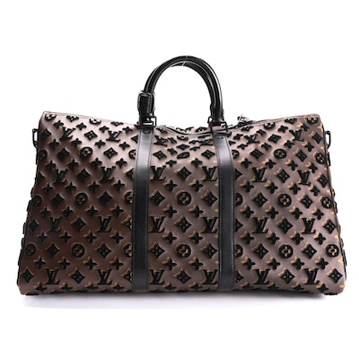 Louis Vuitton Keepall Triangle Bandouliere 50 in Monogram Tuffetage