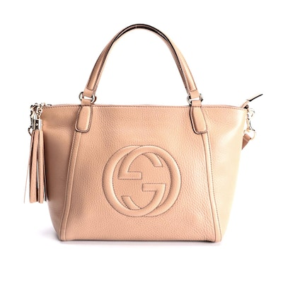 Gucci Soho Grained Leather Two-Way Bag with Tasseled Zip Pull