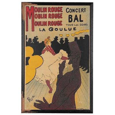 """Silkscreen after Henri de Toulouse-Lautrec """"Moulin Rouge: La Goulue"""""""