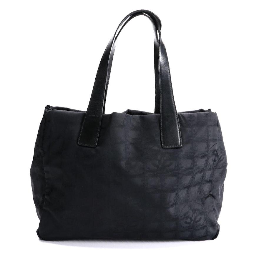 Chanel Travel Line Black Nylon Jacquard Tote