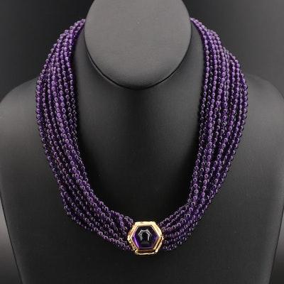 14K Amethyst Torsade Necklace