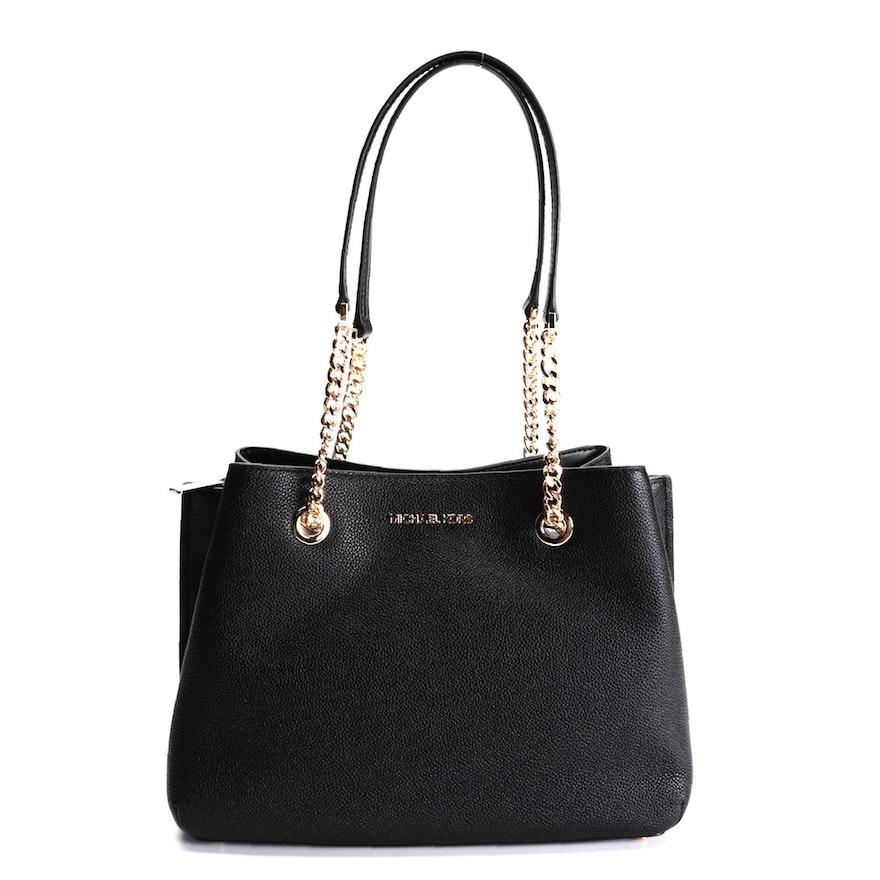 Michael Kors Teagen Black Leather Shoulder Bag