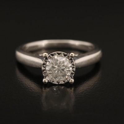 10K Illusion Set 0.80 CT Diamond Solitaire Ring
