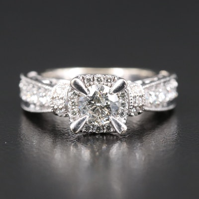 14K Diamond Ring with Open Gallery and Milgrain Detail
