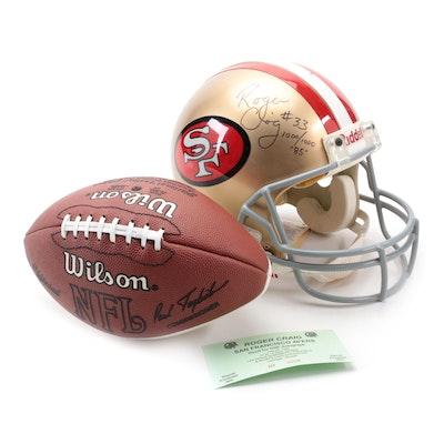Roger Craig Signed San Fransisco 49ers Full Size Helmet and Wilson Football, COA