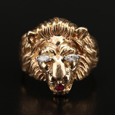 14K Diamond and Ruby Lion Ring