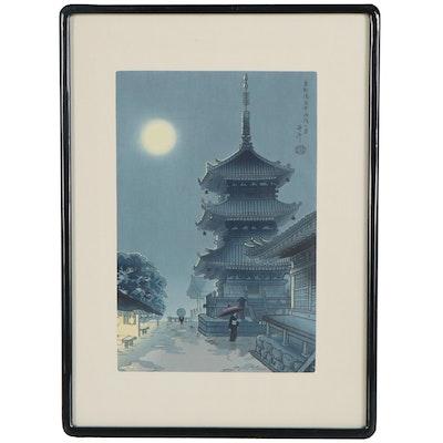 "Asada Benji Woodblock ""Misty Moon at Kiyomizu Temple"""