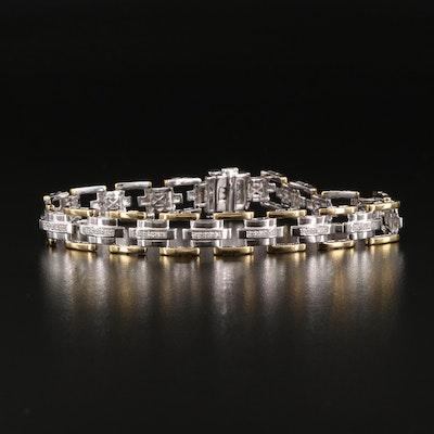 Sterling Silver Diamond Geometric Link Bracelet