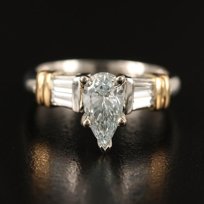 Platinum Diamond Ring with 18K Accents and GIA Report