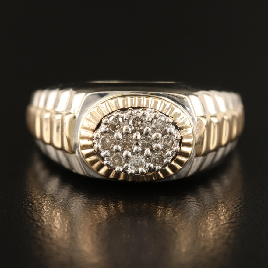 10K Diamond Cluster Ring with Stepped Shoulders