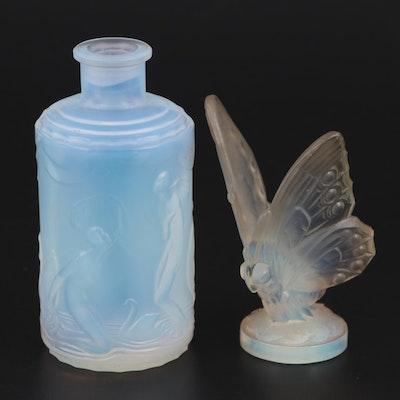 "Sabino ""Open Butterfly"" Glass Figurine and ""Frivolites"" Glass Perfume Bottle"