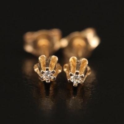 14K 0.01 CTW Diamond Buttercup Stud Earrings