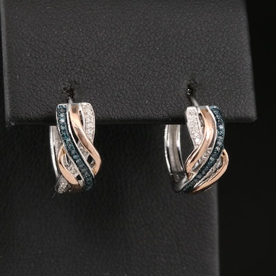 Sterling Silver Diamond Huggie Earrings with 10K Accent