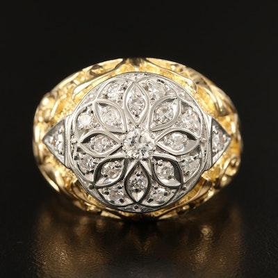 18K Two-Tone Diamond Scrollwork Ring