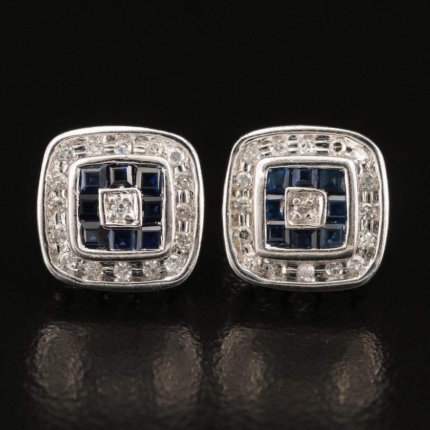14K Sapphire and Diamond Stud Earrings