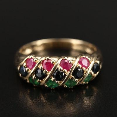 14K Ruby and Gemstone Multi-Row Ring