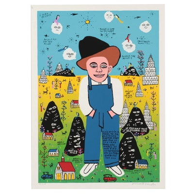 """Howard Finster Serigraph """"Baby Elvis,"""" Late 20th Century"""